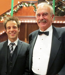 Virtuoso horn player Louis-Philippe Marsolais (left) and North Okanagan Community Concert Association president Paul Maynes